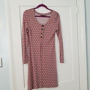 Boden Brown Print Long Sleeve Dress
